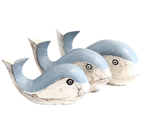 Wooden Whale Decor in Blue & White - Assorted