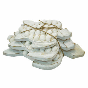 Wood & Shell Turtle White - Set of 3