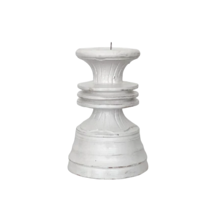 Candle Stand White Carved Low