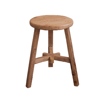 Antique Elm Round Stool