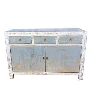 White & Blue-Grey Elm Cabinet