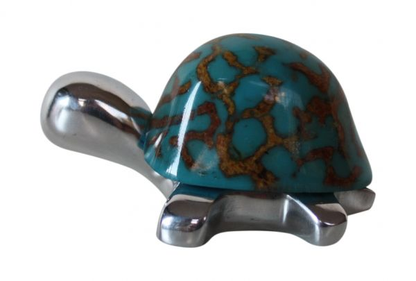 Land Turtle Mini Figurine Honeycomb Turquoise