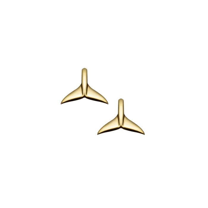 Gold Plated Earrings Whale Tail