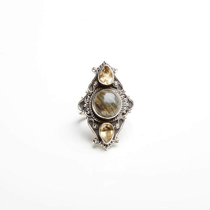 Citrine and Labradorite Ring
