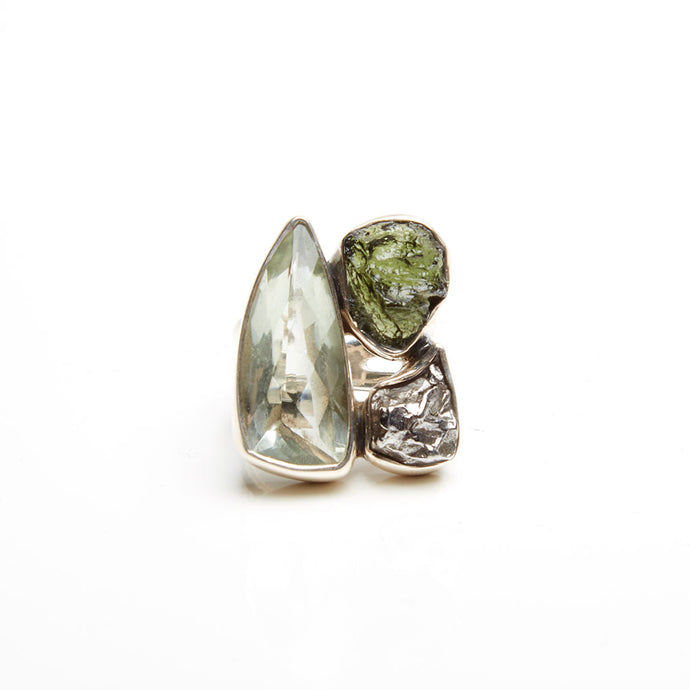 Green Amethyst, Moldavite and Meteorite Ring