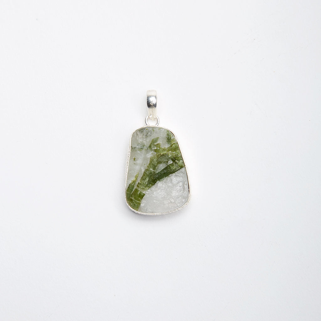 Green Tourmaline in Quartz Pendant