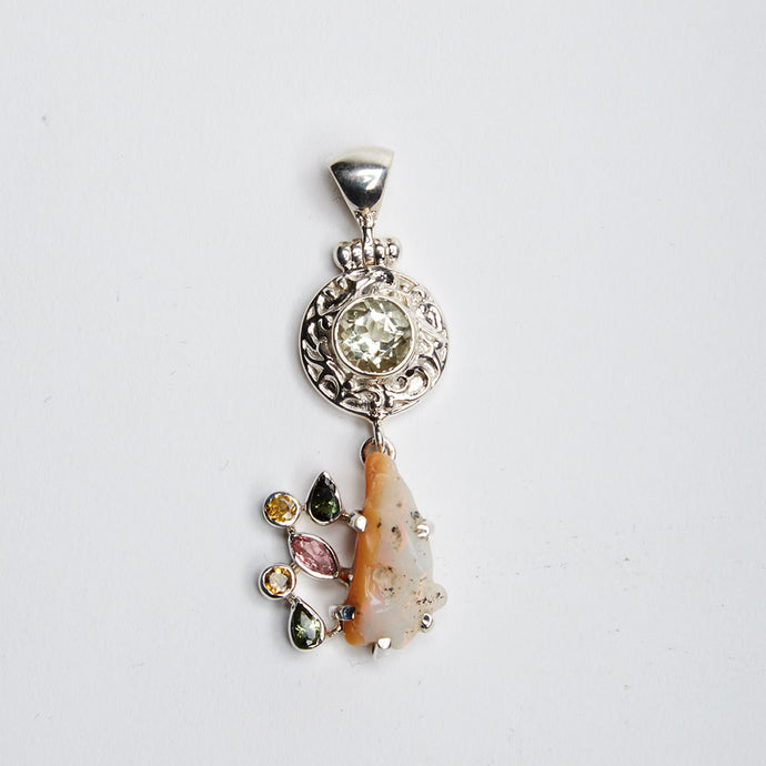 Green Amethyst, Ethiopian Opal; Pink and Green Tourmaline, and Citrine Pendant