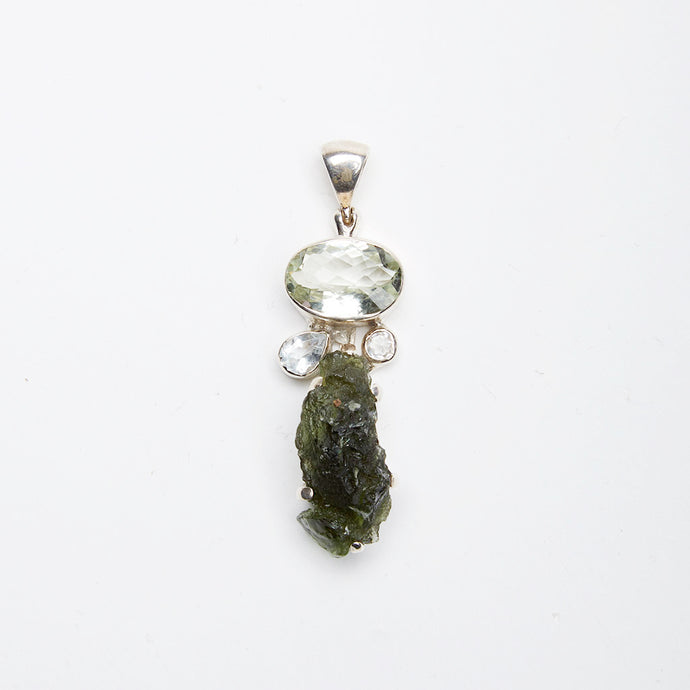 Green Amethyst, White Topaz and Raw Moldavite Pendant