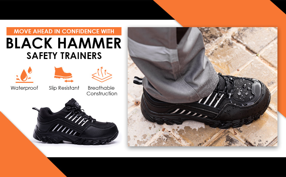 Black Hammer Mens safety work trainers for construction work site