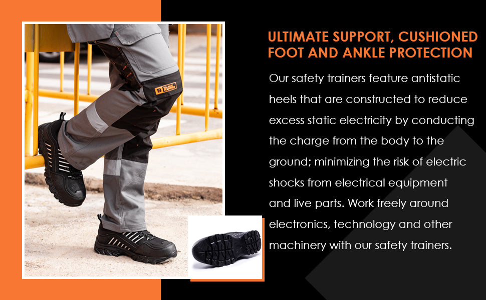 Cushioned trainers for men offer comfort steel toe cap midsole protection