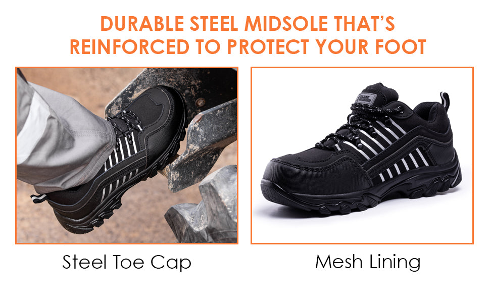 steel toe cap trainers with mesh lining to keep your feet protected