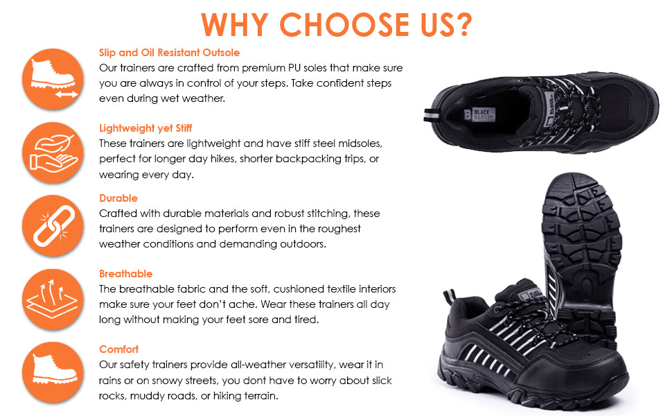 trainers with outstanding features, slip resistant, lightweight, durable, comfortable and breathable