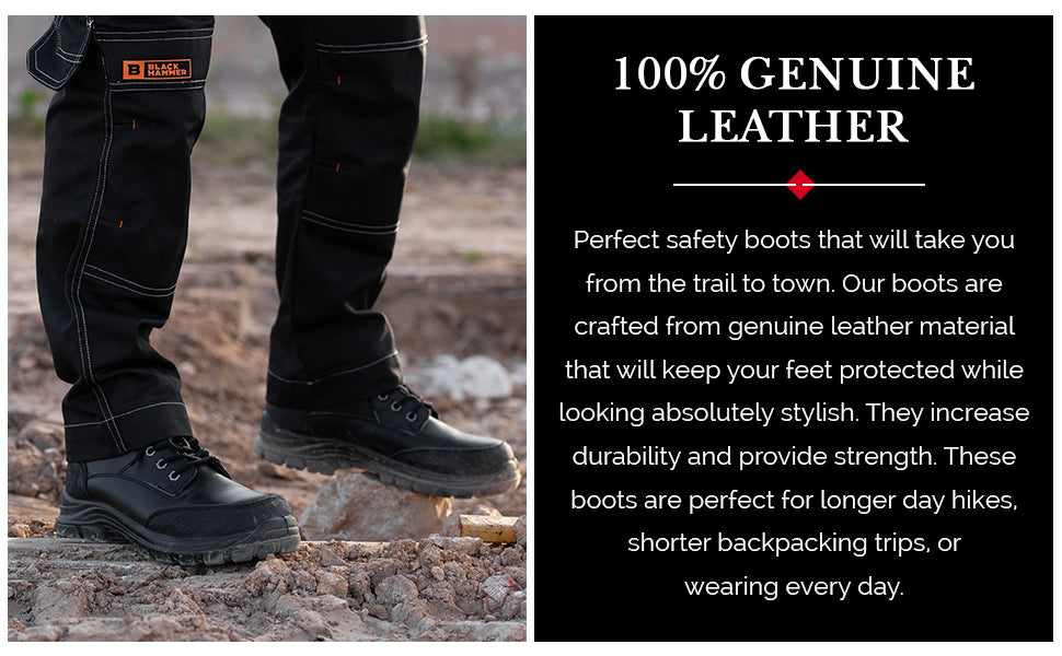 work shoes crafted from genuine leather material to keep you protected and stylish