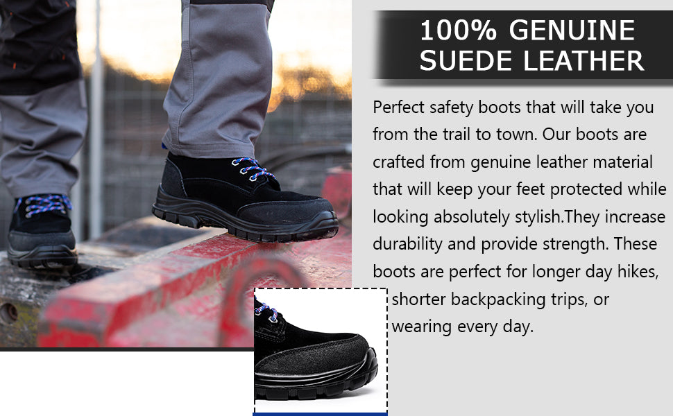 work shoes crafted from genuine suede leather material to keep you protected and stylish