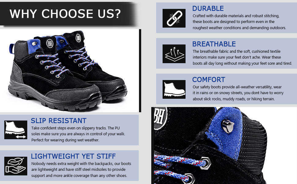 Boots with outstanding features, slip resistant, lightweight, durable, comfortable and breathable