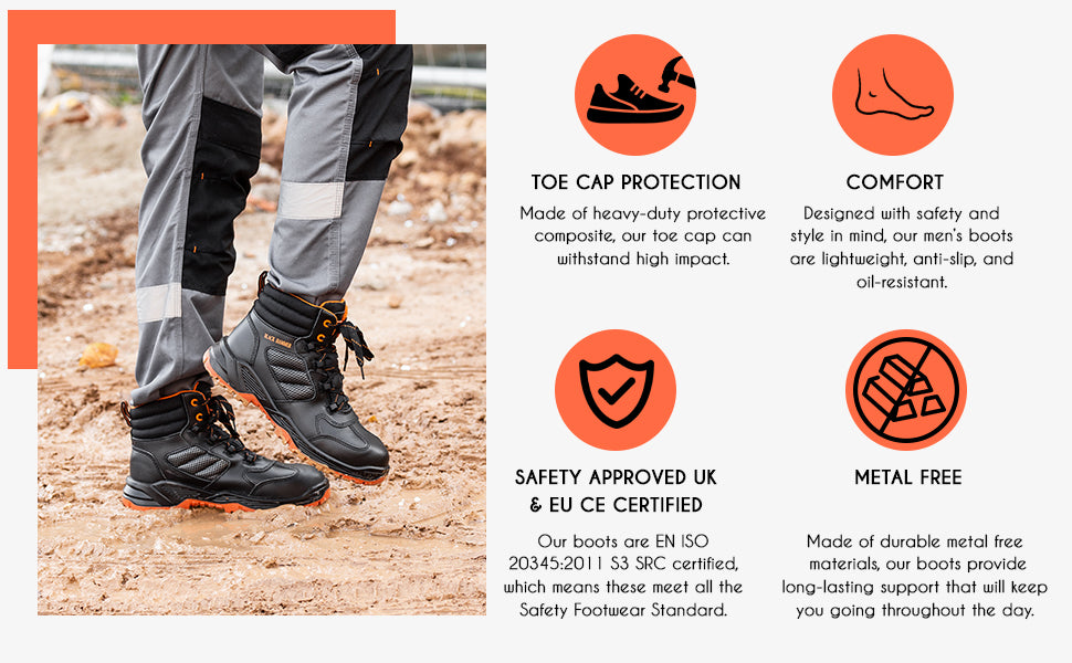 Our black work boots are safety approved