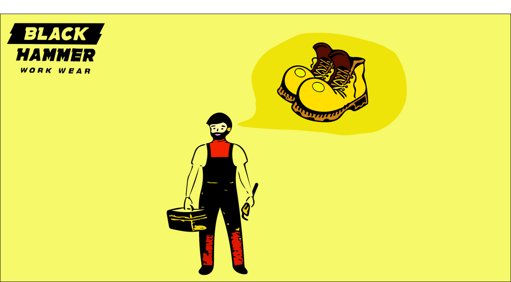male worker holding a tool box and a brush thinking of safety footwear