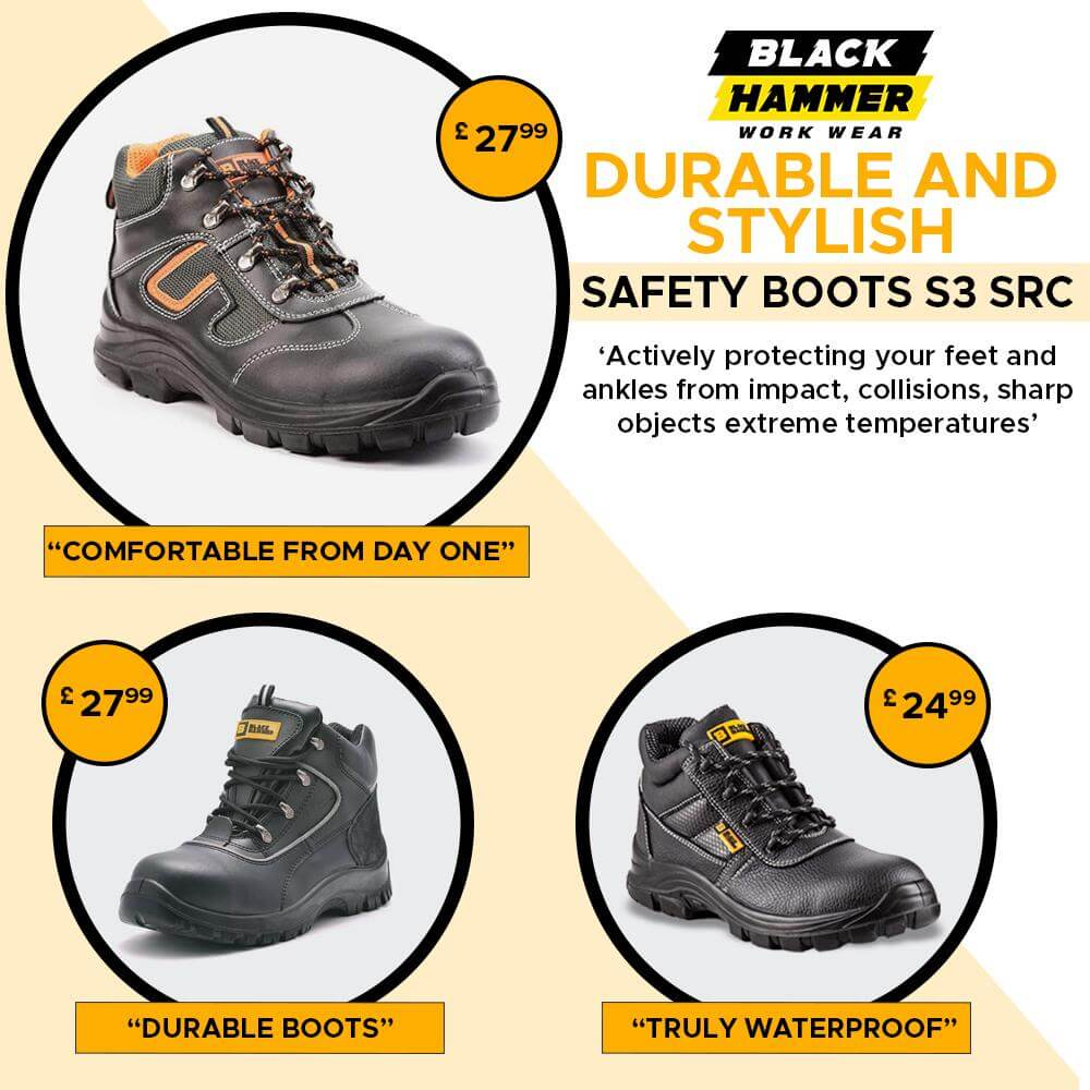 DURABLE AND STYLISH SAFETY BOOTS S3 SRC | Black Hammer