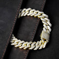 15mm 14K Gold Iced Out Diamantschliff Panzerarmband mit Zirkonia - krkc&code