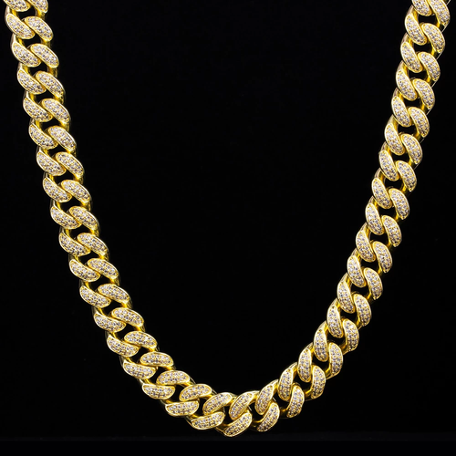 12mm 14K Gold Zirkonia Panzerkette Cuban Link Chain - krkc&code