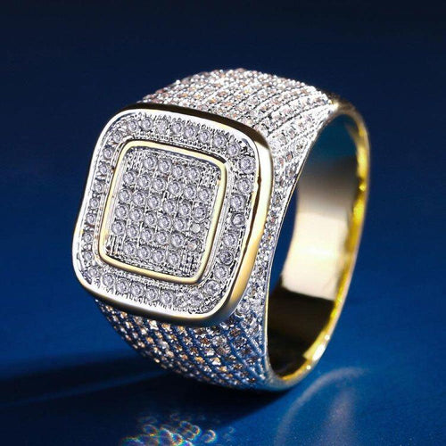 18K Gold plattiert Plattform Iced Out Ring - krkc&code