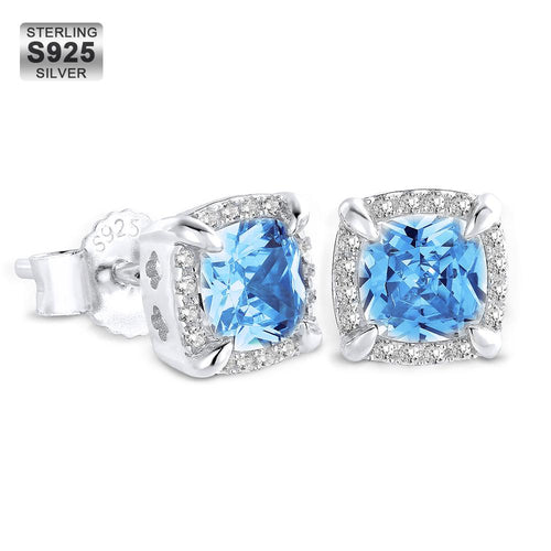 Princess Cut Diamond Ohrstecker Herren Ohrringe 925 Silber Blau / Gold / Weiß-KRKC