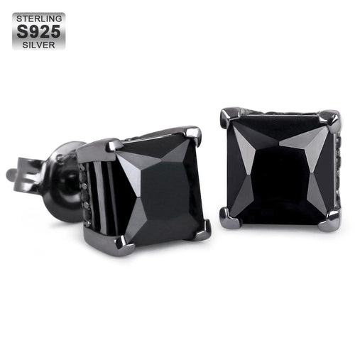 925 Sterling Silver Black CZ Stud Earrings-krkcom