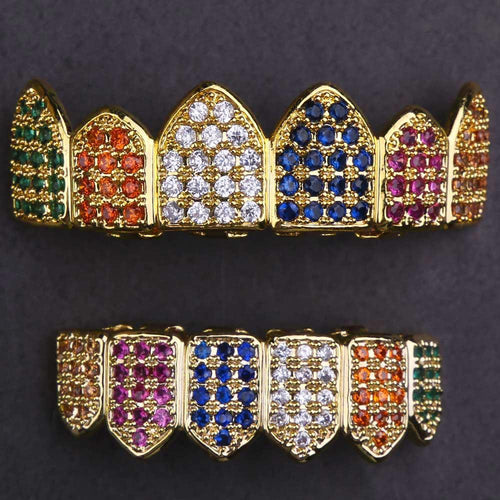 14k Gold Multicolored CZ Grillz - krkc&code