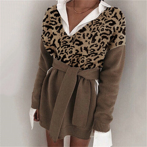 Women's fashion v neck long sleeve sweater
