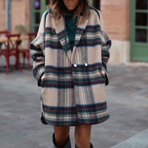 Fashion multicolor grid lapel coat
