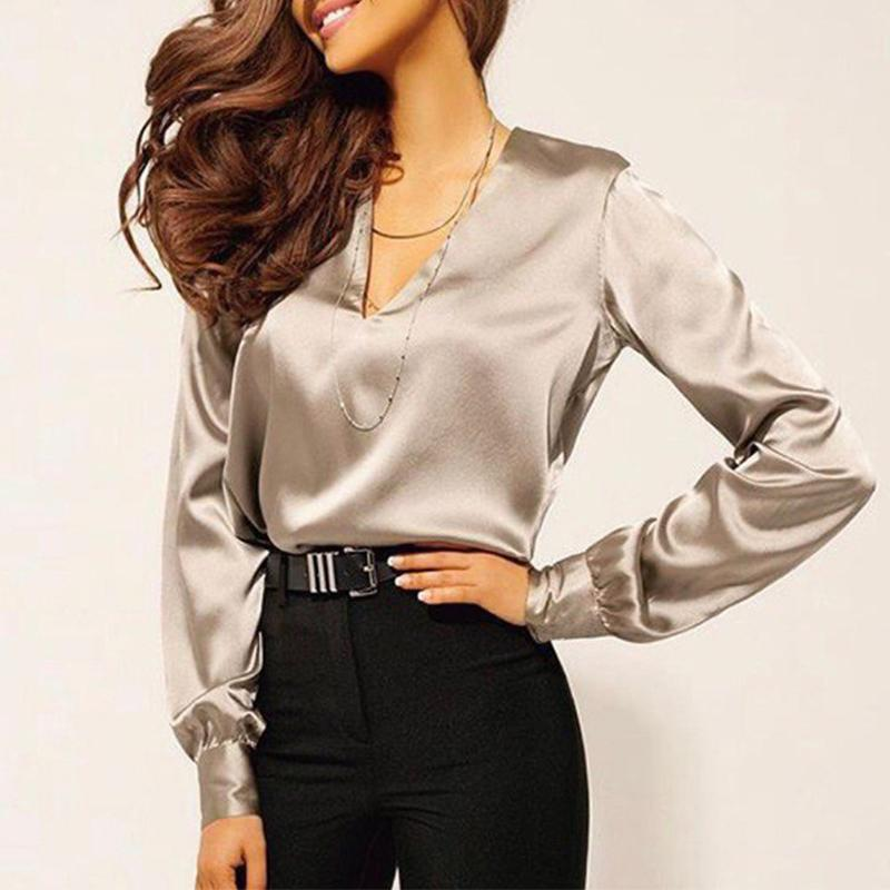 V Neck Long Sleeve Casual Blouses
