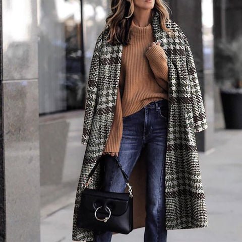 Women Fashion Houndstooth Long Overcoat