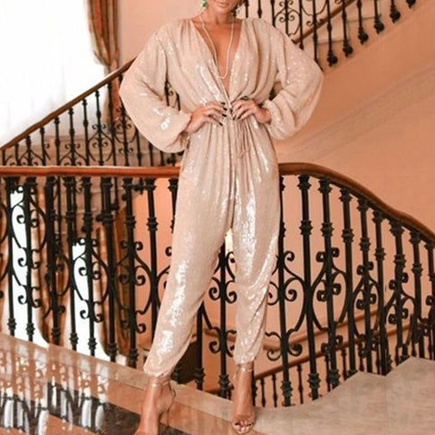 Finalpink Retro Sexy Deep V Long Puff Sleeves Shining Jumpsuit