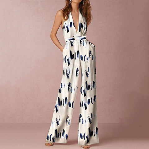 Fashion Sleeveless Floral Print Jumpsuit