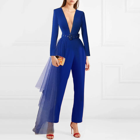 Fashionable Pure Color V-neck Jumpsuit