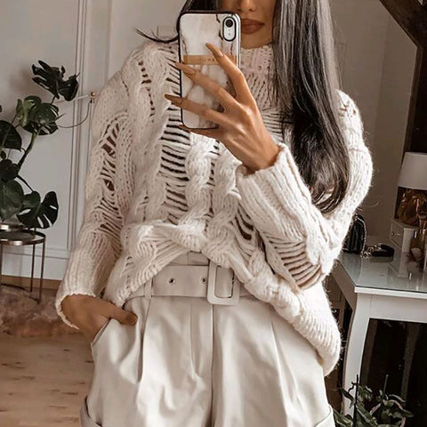 Modern Solid Color Hollow-out Long Sleeve Knit Sweater