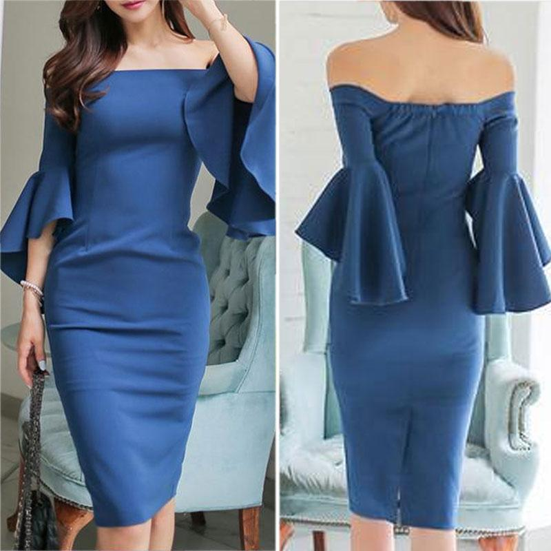 Open Shoulder  Plain  Bell Sleeve Bodycon Dress