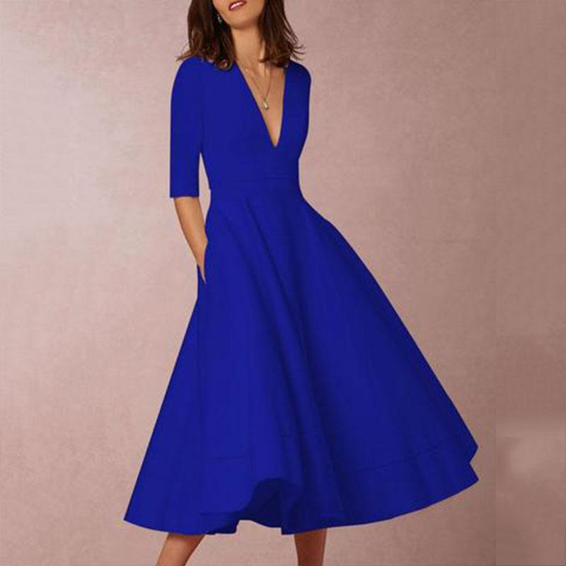 Sexy Deep V Neck Solid Midi Skater Dress