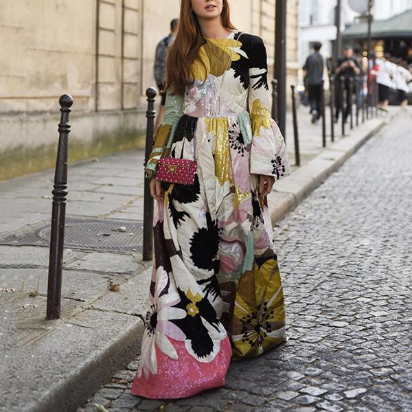 Ethnic Style Long Flare Sleeves Floral Printed Maxi Dress