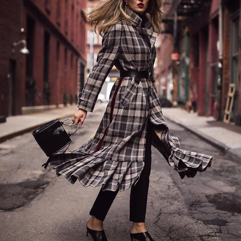Vintage Plaid Long Women's Coat