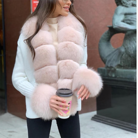 Women's thick color matching coat