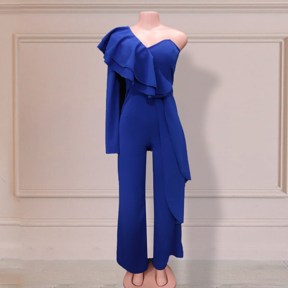Irregular Pure Colour Off The Shoulder Jupmsuit