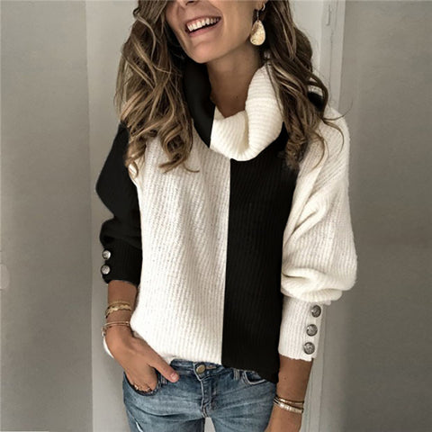 Ladies Fashion Colorblock Turtleneck Sweater