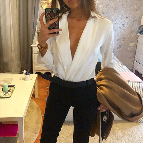 Sexy Solid Color Suit Collar Long Sleeve Blouse