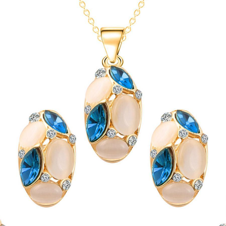 Opal Crystal Necklace Earrings Set