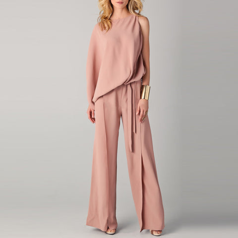 Elegant Pure Color Round Collar Irregular Jumpsuit