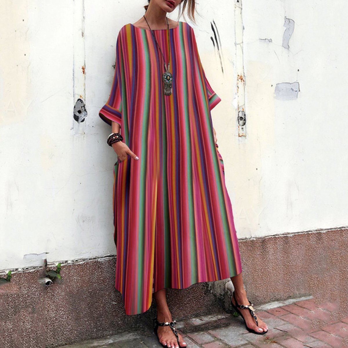 Ambreus Bohemian Striped Bell Sleeve Maxi Dress