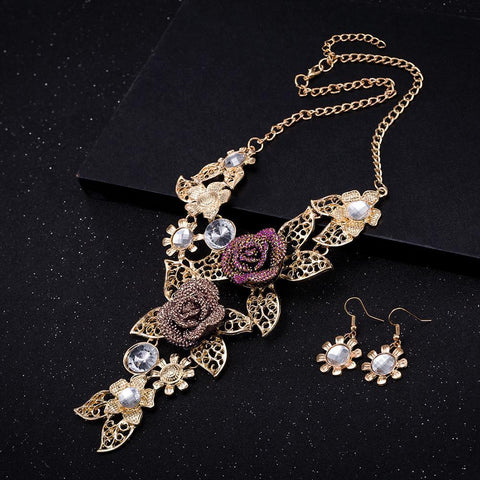 Fashion Resin Alloy Crystal Necklace Earrings Set