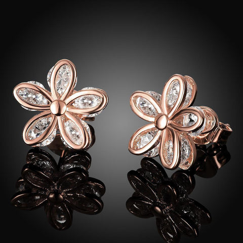 Romantic Flower Zircon Ladies Earrings