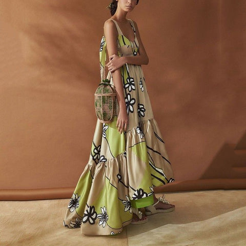 Sling Backless Sleeveless Apricot Floral Print Green Maxi Dresses for Women